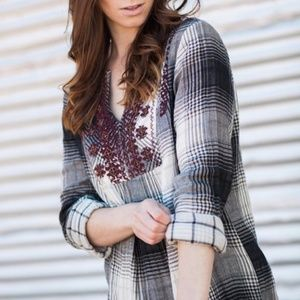 Anthropologie Floreat Plaid Embroidered Tunic XS